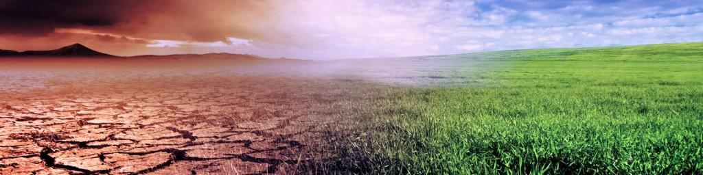 arid barren land transition to lush land